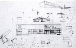 Gardella, Dispensario Antitubercolare, Alessandria, 1933-38. Schizzi dell'autore
