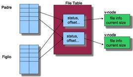 Una rappresentazione dei puntatori alla file table dopo un fork.