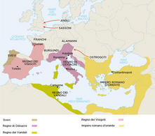 Italian map of Roman-Barbarian kingdoms. (Image supplied by the author)