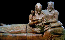 The Sarcophagus of the Spouses is a late 6th century B.C. Etruscan anthropoid sarcophagus, actually exhibited in the National Etruscan Museum of Villa Giulia, Rome. (Image supplied by the author)