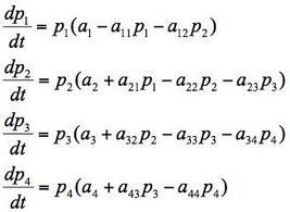 Modello matematica di catena alimentare con 4 popolazioni