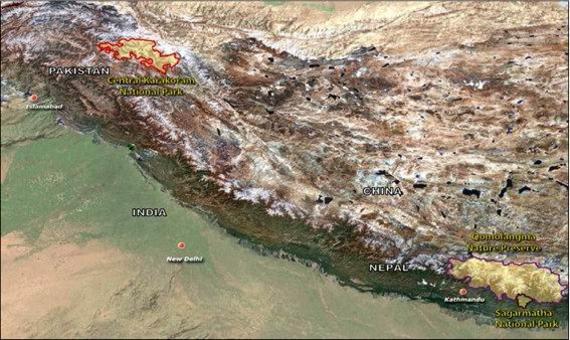 Le tre aree interessate dal progetto (Pakistan, Tibet, Nepal)
