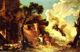 Salvator Rosa, Astraias Abschied von den Hirten. Fonte: Wikipedia