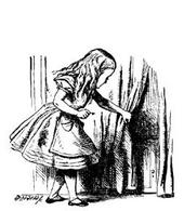 Carroll insegna con giochi di parole,immagini, un mondo delle meraviglie dietro la tenda. Fonte: Lewis Carroll Society of North America