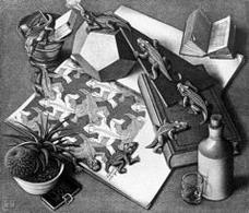 M.C. Escher, Reptiles, 1943. Fonte: Wikipedia