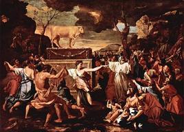 """Le nove lettere – questa immagine di Poussin del tema """"Et in Arcadia ego"""" mostra, se confrontata alla più nota, quanto giovi la riduzione del numero delle figure. Fonte: Wikipedia"""