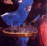 Giovanni Santi, veduta di Cagli, Pala della Chiesa dei Cappuccini. Fonte: Wapedia
