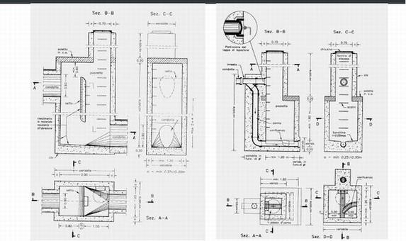 Pozzetti di salto. Fonte: Sistemi di Fognatura. Manuale di Progettazione, CSDU, Hoepli