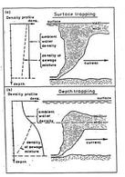 Intrappolamento del getto in: a) ricettore omogeneo; b) ricettore a densità variabile