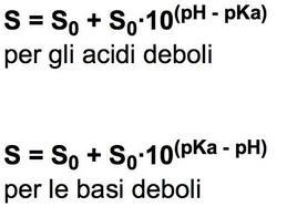 Formule per calcolare la solubilità di un acido o di una base debole ad un dato pH.