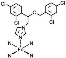 Il miconazolo legato al Fe(II) dell'eme della lanosterolo 14- α-demetilasi.