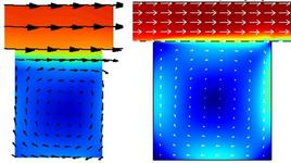 Fig. 1.11: Campo di moto in un cavità. Indagine sperimentale (sinistra) e simulazione matematica (destra).