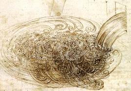 Fig. 6.1 – Disegno di Leonardo sui vortici turbolenti. Immagine da: Accademia delle Scienze