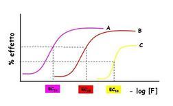 Fig. 5 Curve dose – risposte di tre farmaci (A è il più potente, C è il meno efficace)