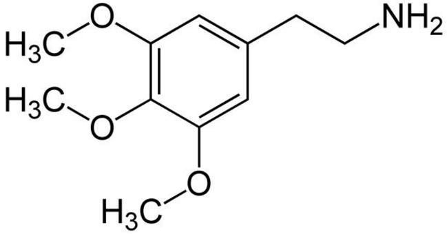 Struttura chimica della mescalina. Fonte: Wikimedia Commons