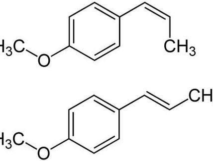 Anetolo (cis e trans), il principale componente dell'essenza di anice verde e stellato
