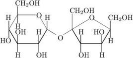 Struttura chimica del saccarosio. Fonte: Wikimedia Commons