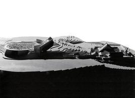 Veduta del plastico del nuovo Tempio  Mizumido, Awaijima, Tadao Ando