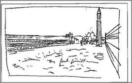 Schizzo di Le Corbusier raffigurante piazza San Marco a Venezia.