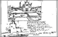 Schizzo di Le Corbusier raffigurante la chiesa dei Frari a Venezia.