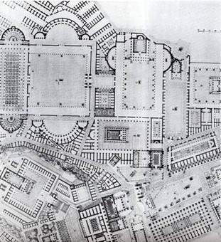 """Dettaglio pianta di Roma in età Imperiale (da """"Collage city """", Colin Rowe, Fred Koetter)"""