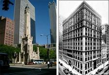 Chicago Water Tower. Fonte: foto R. Landolfo; Home Insurance Company Building, 1885, Chicago. Fonte: Wikimedia Commons