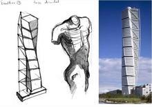Calatrava: schizzi di progetto e opere realizzate. Fonte: Gutschow Blog e Daysins