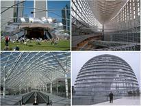 Gehry: Millennium Park, Chicago; R. Vinoly: Tokio International Forum; Fuxsas: Fiera di Rho; Foster: Cupola del Reichstag, Berlino. Fonte: foto R. Landolfo