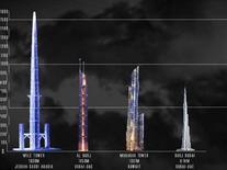 Progetto della Mile-High Jeddah Tower e confronto con la Burj Khalifa (primo a destra). Fonte: Trendhunter