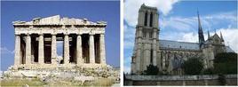 Il Partenone, Atene, 600 a.C. Fonte: Vitruvio; Notre-Dame, Parigi – 1163-1250. Fonte: foto R. Landolfo