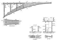 R. Maillart, Salginatobel Bridge, disegni di progetto, 1930