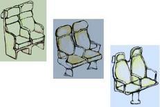 """Schizzo di tre sedili ideati secondo tre stili diversi denominati """"Ieri"""", """"Oggi"""" e """"Domani""""."""