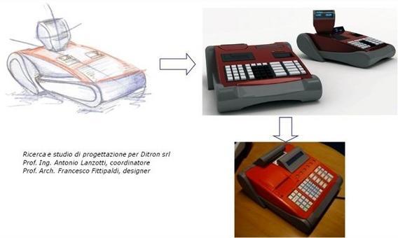 La progettazione concettuale di un nuovo modello di registratore di cassa parte dal bozzetto di stile, si sviluppa in ambiente virtuale con resa fotorealistica e si completa col prototipo fisico realizzato mediante prototipazione rapida.