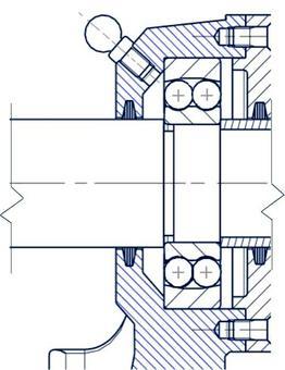 Le ralle dei cuscinetti volventi devono essere vincolate assialmente in modo adeguato. Ad esempio, lo spallamento e la boccola vincolano alla traslazione la ralla interna e la bussola vincola unidirezionalmente la ralla esterna.