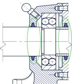 Sistema di protezione del tipo a guarnizione: i feltri nella cave trapezoidali garantiscono la protezione del cuscinetto dalle impurità esterne ed evitano la fuoriuscita del lubrificante.