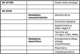 Classificazione teorica dei metodi per determinare la composizione corporea nell'uomo. (Modificata tratta da Techniques used in the measurement of body composition: an overview with emphasis on bioelectrical impedance analysis.  Heymsfield SB, Wang Z, Visser M, Gallagher D, Pierson RN Jr. Am J Clin Nutr. 1996 Sep; 64 (3 Suppl):478S-484S.)