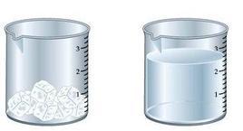 Sistema omogeneo. In ciascun becher l'acqua pura è presente in una sola fase: solida (ghiaccio) e liquida