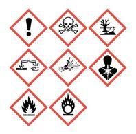I nuovi pittogrammi per le indicazioni di pericolo secondo il regolamento CLP. Fonte: UNECE