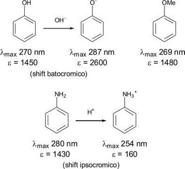 Influenza del pH sull'assorbimento UV dei fenoli e delle ammine
