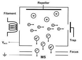 Schema della sorgente a impatto elettronico (EI)
