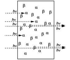 I nuclei nello stato α assorbono fotoni, ma quelli nello stato β li emettono per emissione stimolata.