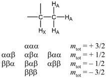 I possibili 9 stati di spin dei tre protoni A
