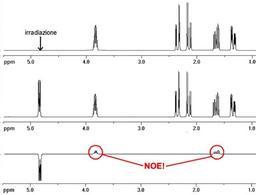 Nello spettro differenza compaiono solo i segnali i protoni che mostrano NOE