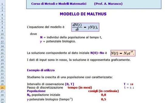 Figura 11.1: Foglio Excel Malthusiano.xls