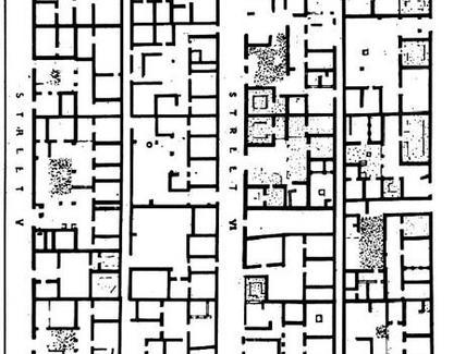Olinto, tessuto di domus. Fonte Giuseppe Strappa, Facoltà di Architettura Valle Giulia.