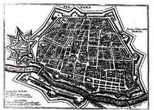 Pianta della città di Ferrara nel XVI secolo. Fonte Comune di Ferrara.
