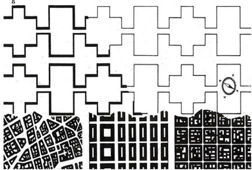 Le Corbusier, Confronto tra i Redents e i tessuti di Parigi, New York e Buenos Aires (1930). Fonte Fabio Ghersi, Facoltà di Siracusa, Università degli Studi di Catania.