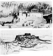 Le Corbusier, Schizzi dell'Acropoli (Quaderno da disegno, 1911). Fonte: bybblog.net