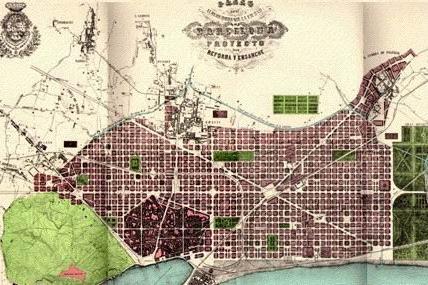 La città ottocentesca: il Plan Cerdà di Barcellona. Fonte: wikipedia