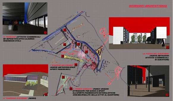"""L'elaborato è stato prodotto durante il Workshop internazionale """"Progettazione architettonica per il Recupero urbano"""" tenutosi a Napoli tra settembre ed ottobre del 2003, dal gruppo di progettazione composto da G. Buono, E. Carafa, A. del Percio, G. Fimiani, D. Lettieri; docente: A. F. Mariniello; assistenti: C. Bozzaotra, D. Cerone, R. Rosi."""